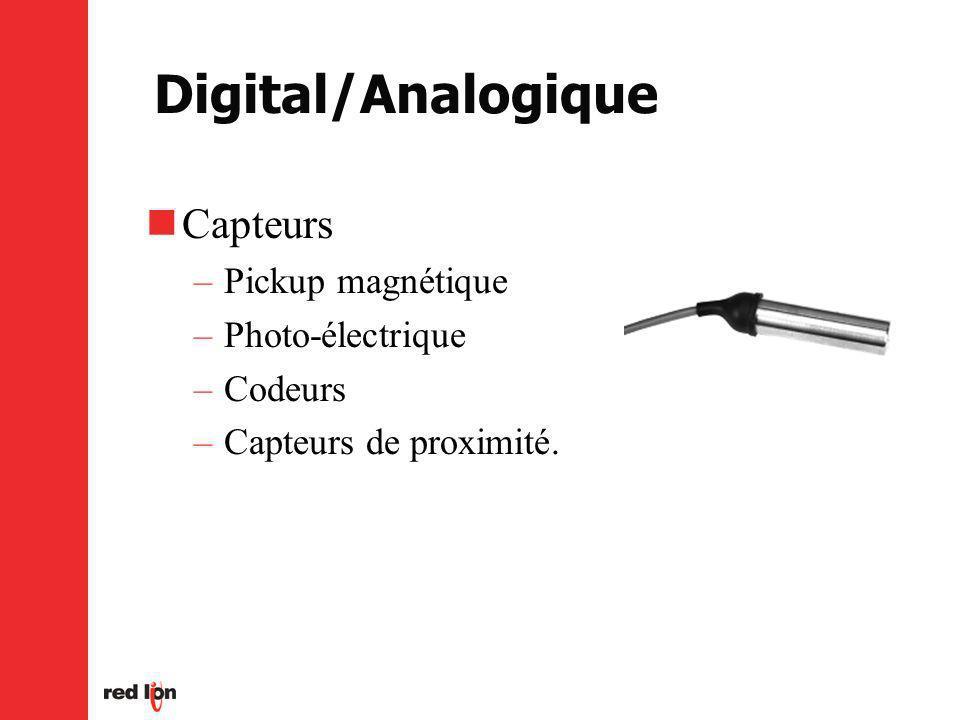Digital/Analogique Capteurs –Pickup magnétique –Photo-électrique –Codeurs –Capteurs de proximité.