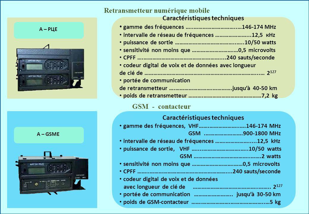 Retransmetteur numérique mobile А – РЦЕ Caractéristiques techniques gamme des fréquences …..………………………..…146-174 МHz intervalle de réseau de fréquences