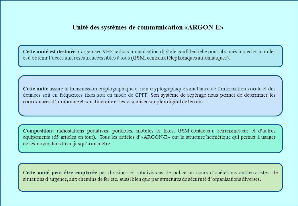 Unité des systèmes de communication «ARGON-E» Cette unité est destinée à organiser VHF radiocommunication digitale confidentielle pour abonnés à pied