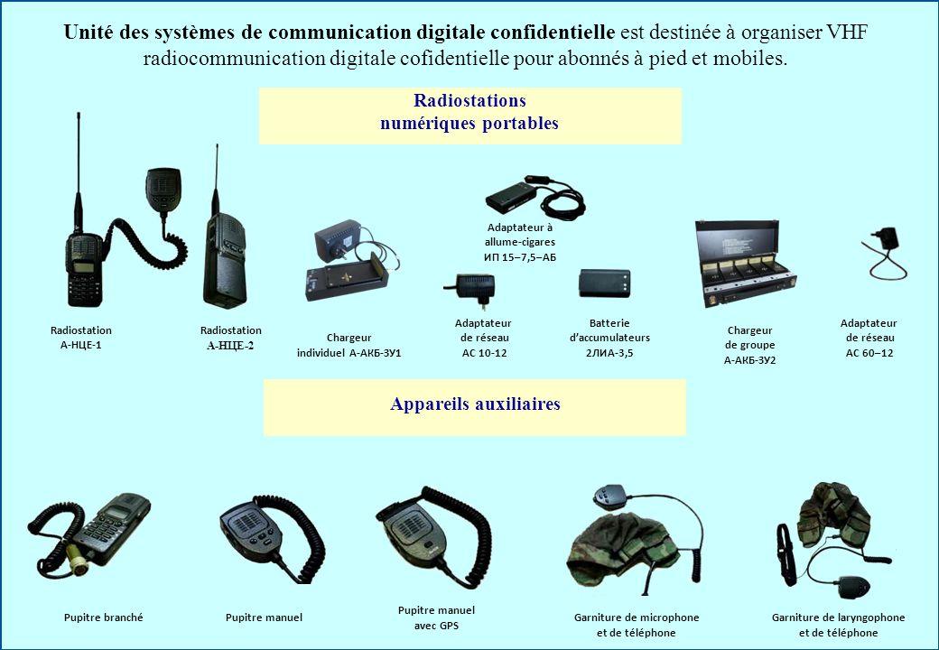 Unité des systèmes de communication digitale confidentielle est destinée à organiser VHF radiocommunication digitale cofidentielle pour abonnés à pied