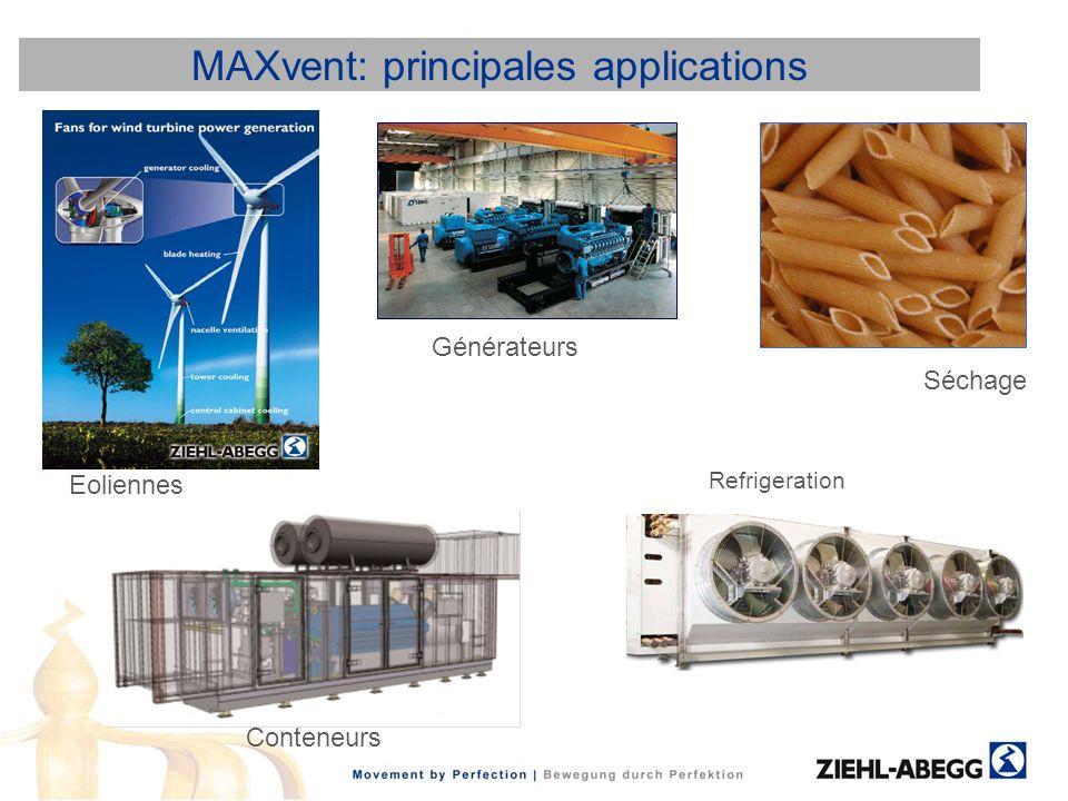 MAXvent: principales applications Refrigeration Séchage Générateurs Conteneurs Eoliennes