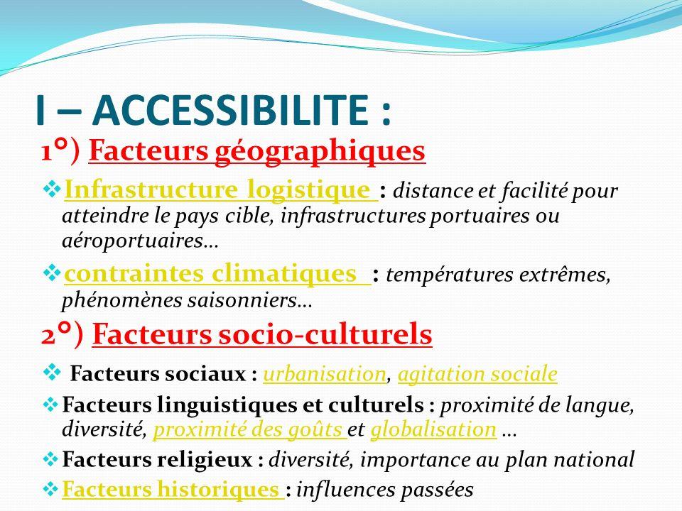 I – ACCESSIBILITE : 1°) Facteurs géographiques Infrastructure logistique : distance et facilité pour atteindre le pays cible, infrastructures portuair