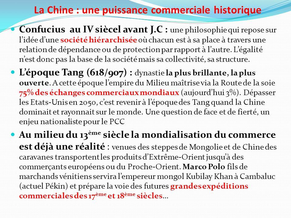La Chine : une puissance commerciale historique Confucius au IV siècel avant J.C : une philosophie qui repose sur lidée dune société hiérarchisée où chacun est à sa place à travers une relation de dépendance ou de protection par rapport à lautre.