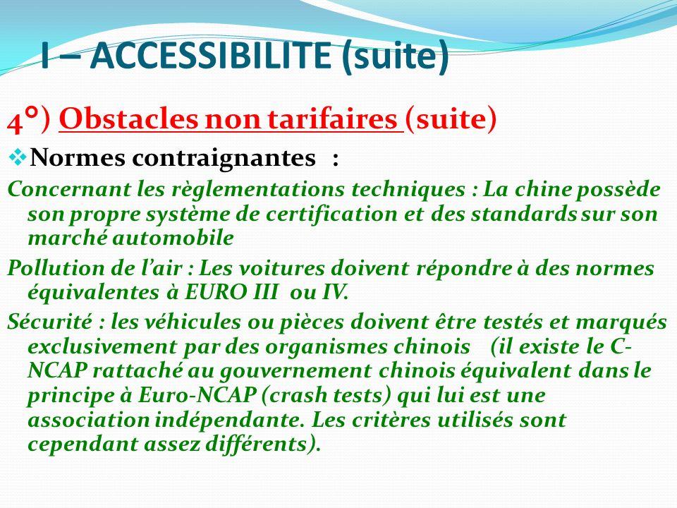 I – ACCESSIBILITE (suite) 4°) Obstacles non tarifaires (suite) Normes contraignantes : Concernant les règlementations techniques : La chine possède so