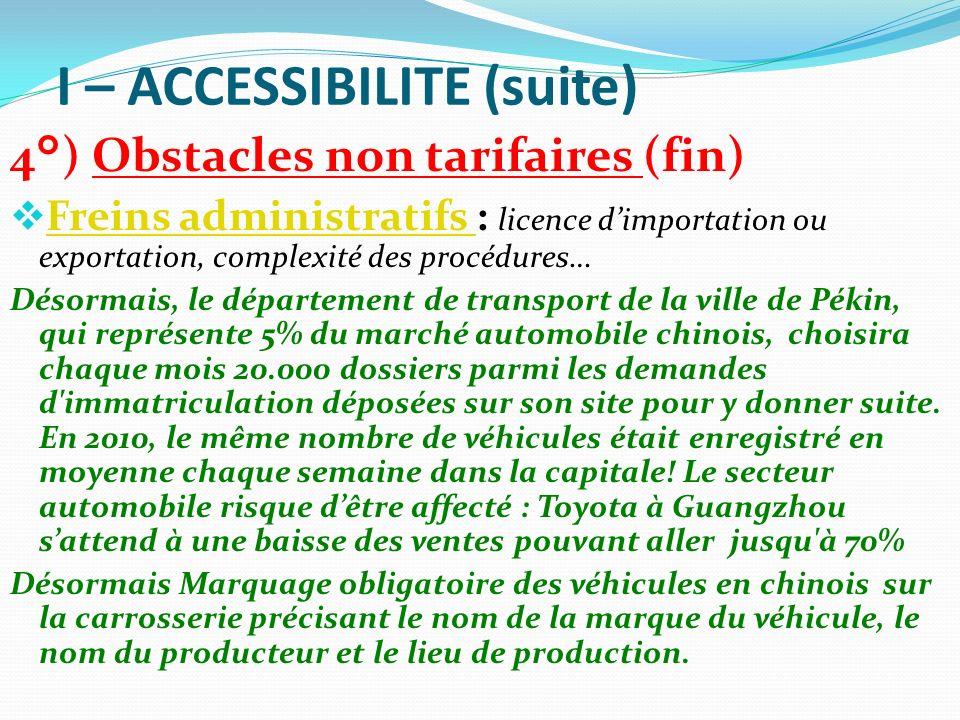 I – ACCESSIBILITE (suite) 4°) Obstacles non tarifaires (fin) Freins administratifs : licence dimportation ou exportation, complexité des procédures… F