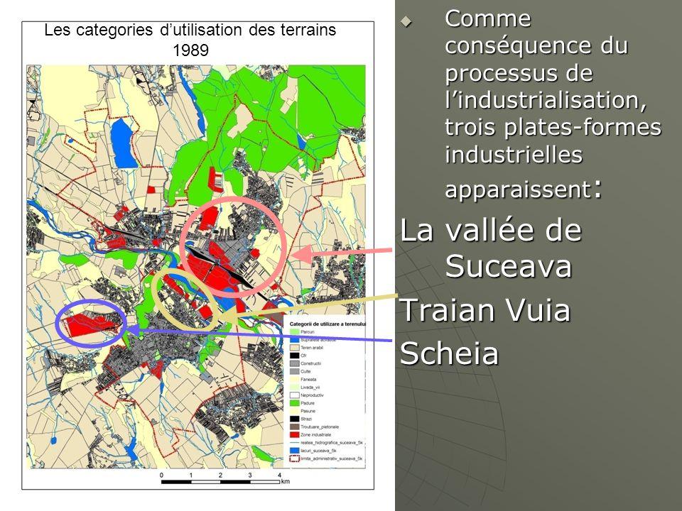 Les categories dutilisation des terrains 1989 Comme conséquence du processus de lindustrialisation, trois plates-formes industrielles apparaissent : C