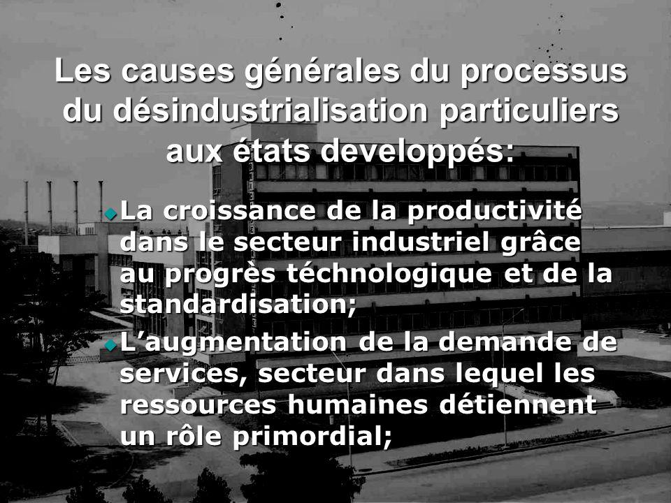 Les causes générales du processus du désindustrialisation particuliers aux états developpés: La croissance de la productivité dans le secteur industri