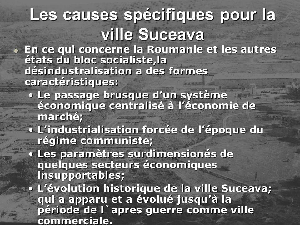 Les causes spécifiques pour la ville Suceava En ce qui concerne la Roumanie et les autres états du bloc socialiste,la désindustralisation a des formes
