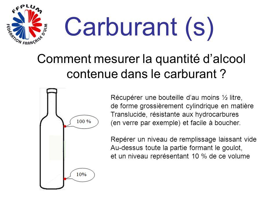 Carburant (s) Comment mesurer la quantité dalcool contenue dans le carburant ? Récupérer une bouteille dau moins ½ litre, de forme grossièrement cylin