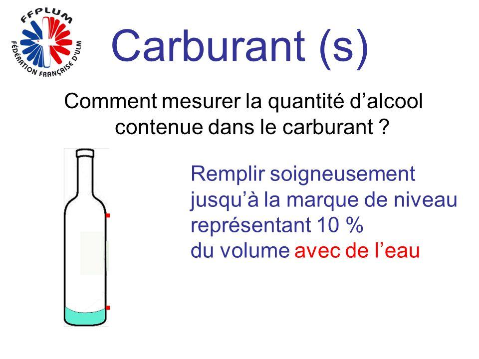 Carburant (s) Comment mesurer la quantité dalcool contenue dans le carburant ? Remplir soigneusement jusquà la marque de niveau représentant 10 % du v