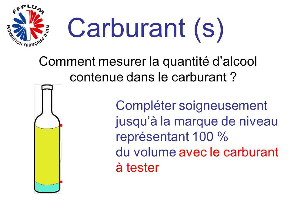 Carburant (s) Comment mesurer la quantité dalcool contenue dans le carburant ? Compléter soigneusement jusquà la marque de niveau représentant 100 % d