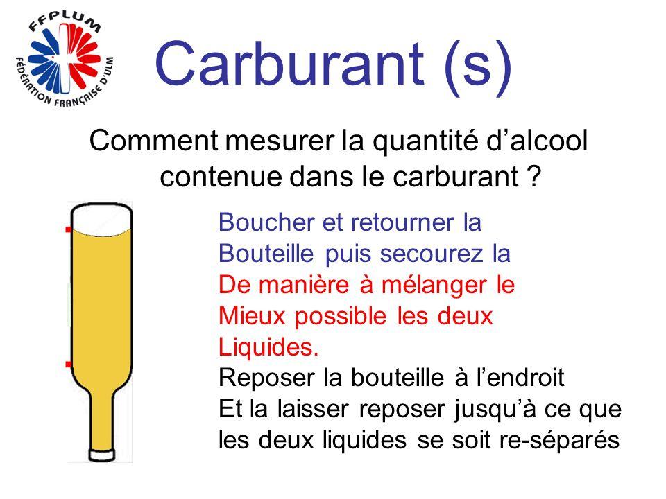 Carburant (s) Comment mesurer la quantité dalcool contenue dans le carburant ? Boucher et retourner la Bouteille puis secourez la De manière à mélange