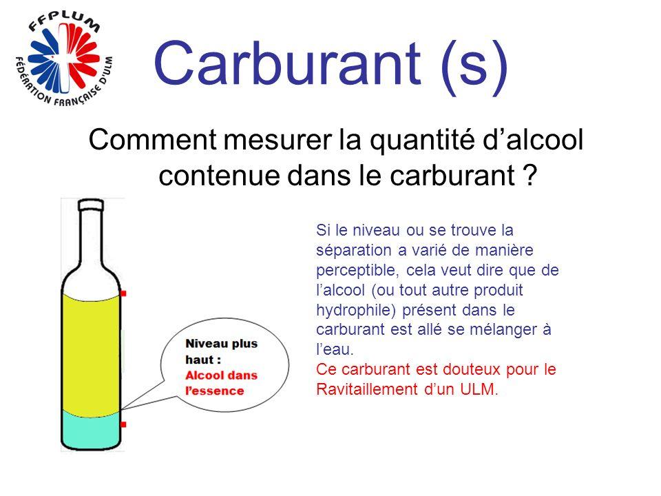 Carburant (s) Comment mesurer la quantité dalcool contenue dans le carburant ? Si le niveau ou se trouve la séparation a varié de manière perceptible,
