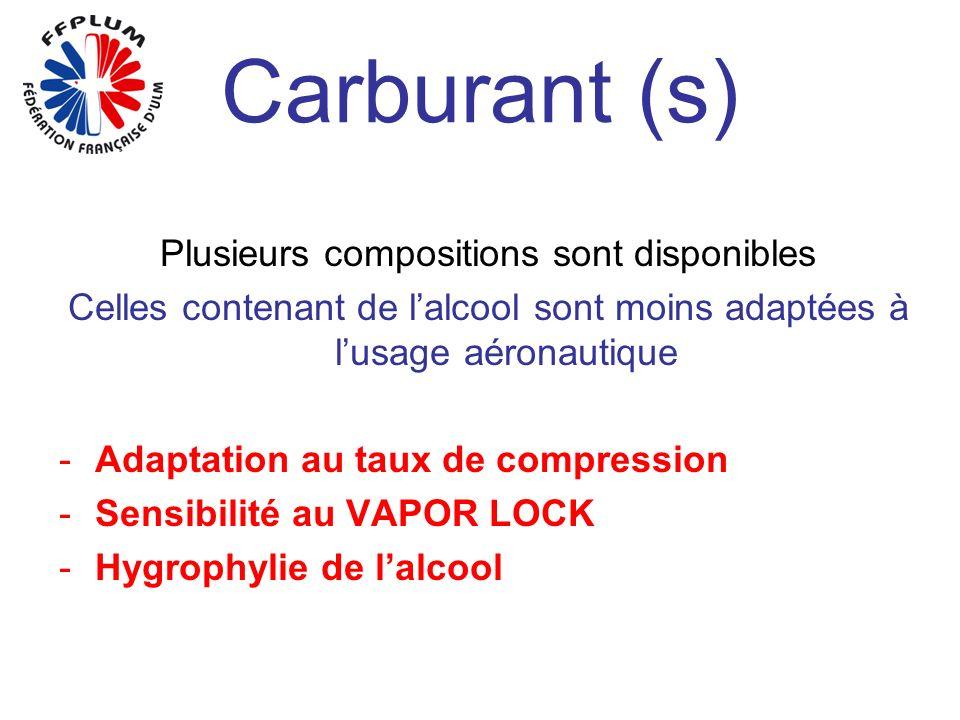 Carburant (s) Plusieurs compositions sont disponibles Celles contenant de lalcool sont moins adaptées à lusage aéronautique -Adaptation au taux de compression -Sensibilité au VAPOR LOCK -Hygrophylie de lalcool