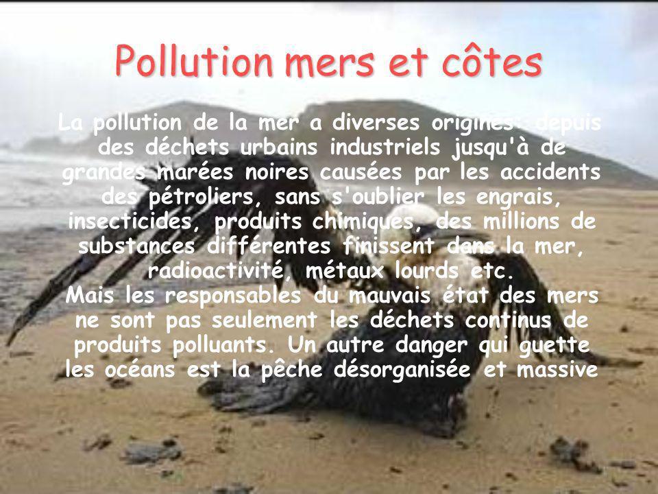 Pollution mers et côtes La pollution de la mer a diverses origines: depuis des déchets urbains industriels jusqu'à de grandes marées noires causées pa