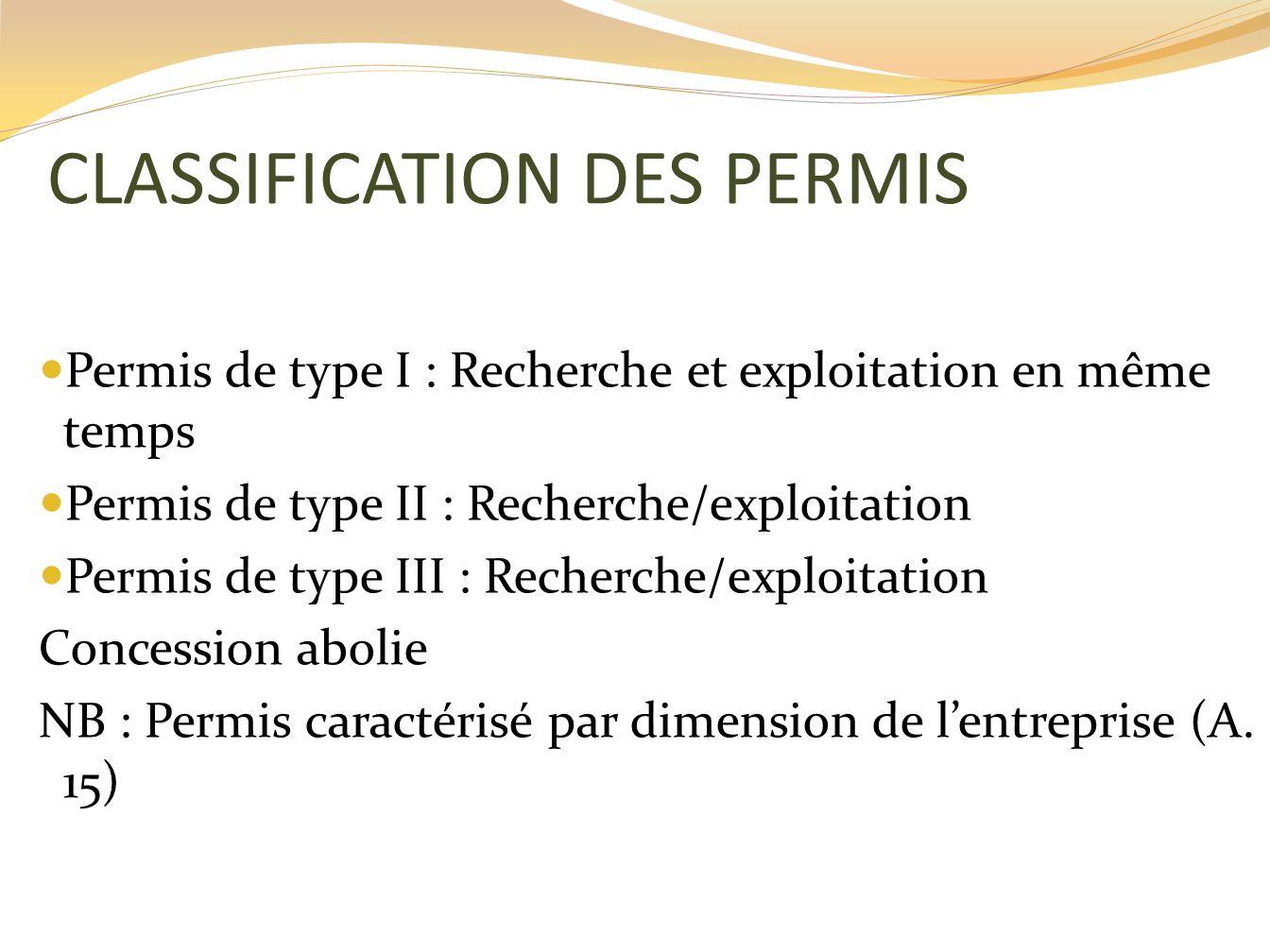 CLASSIFICATION DES PERMIS Permis de type I : Recherche et exploitation en même temps Permis de type II : Recherche/exploitation Permis de type III : R
