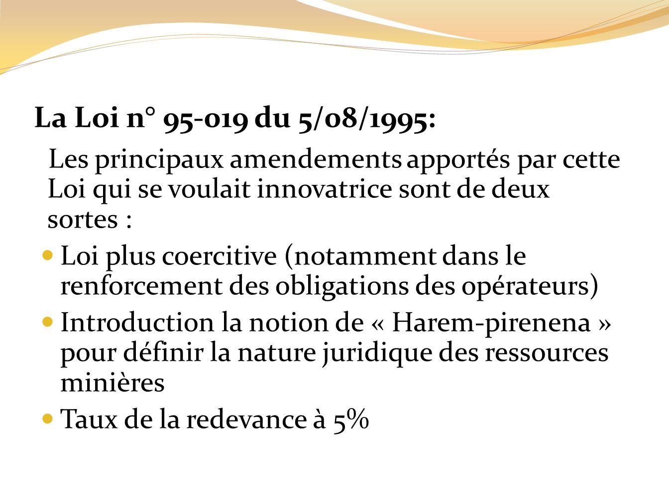 La Loi n° 95-019 du 5/08/1995: Les principaux amendements apportés par cette Loi qui se voulait innovatrice sont de deux sortes : Loi plus coercitive