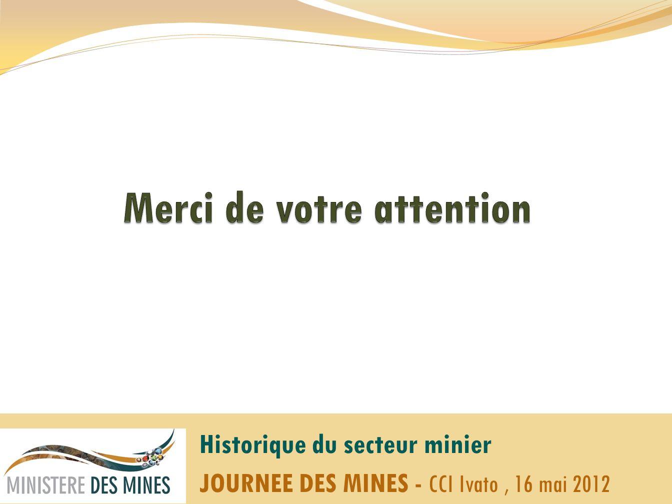 Historique du secteur minier JOURNEE DES MINES - CCI Ivato, 16 mai 2012