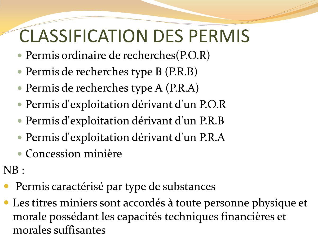 CLASSIFICATION DES PERMIS Permis de type I : Recherche et exploitation en même temps Permis de type II : Recherche/exploitation Permis de type III : Recherche/exploitation Concession abolie NB : Permis caractérisé par dimension de lentreprise (A.