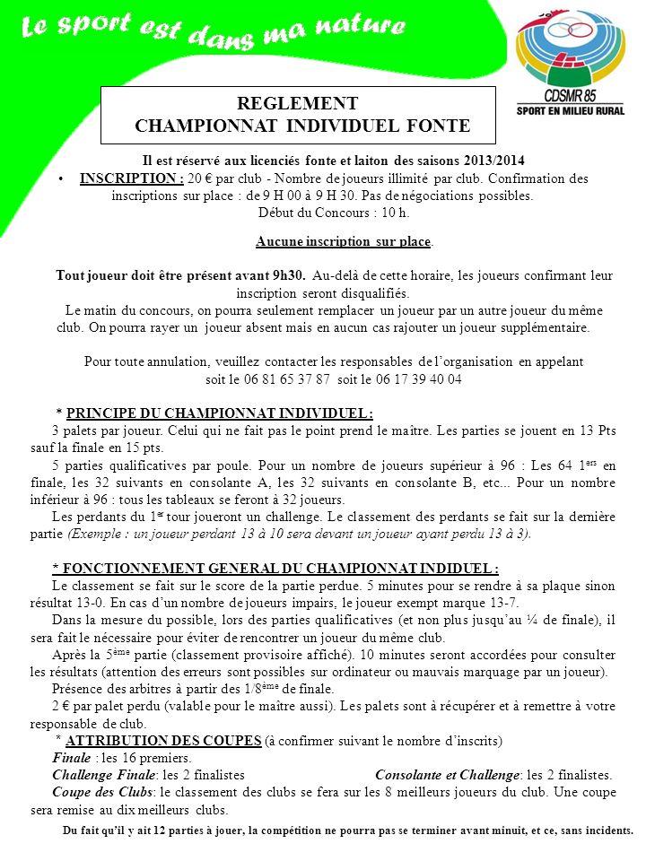 REGLEMENT CHAMPIONNAT INDIVIDUEL FONTE Il est réservé aux licenciés fonte et laiton des saisons 2013/2014 INSCRIPTION : 20 par club - Nombre de joueurs illimité par club.