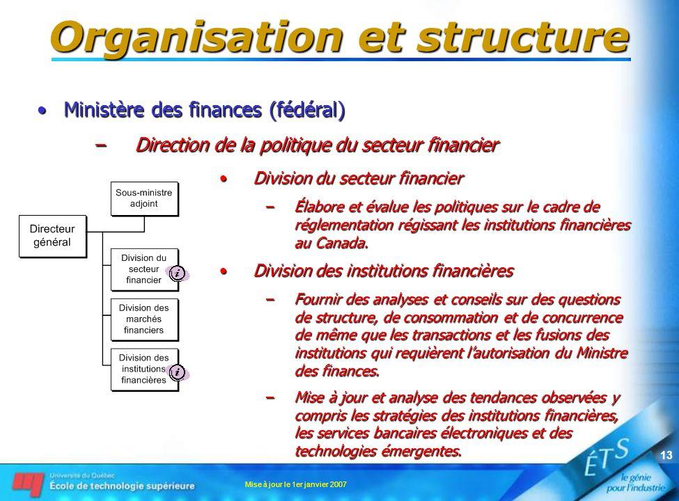 Mise à jour le 1er janvier 2007 13 Organisation et structure Ministère des finances (fédéral)Ministère des finances (fédéral) –Direction de la politiq