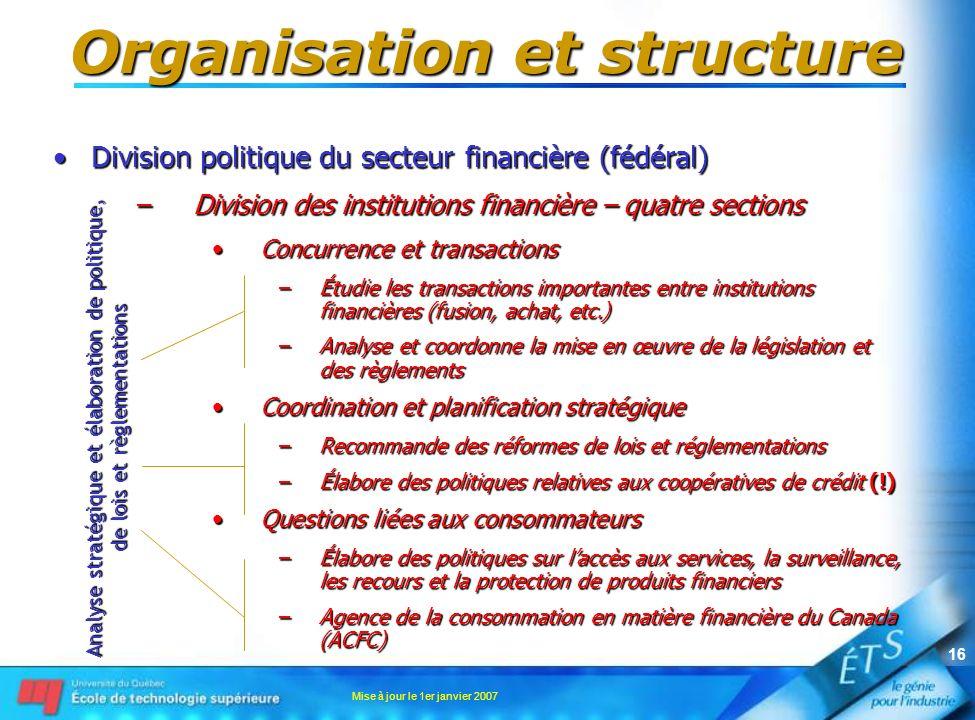 Mise à jour le 1er janvier 2007 16 Organisation et structure Division politique du secteur financière (fédéral)Division politique du secteur financièr