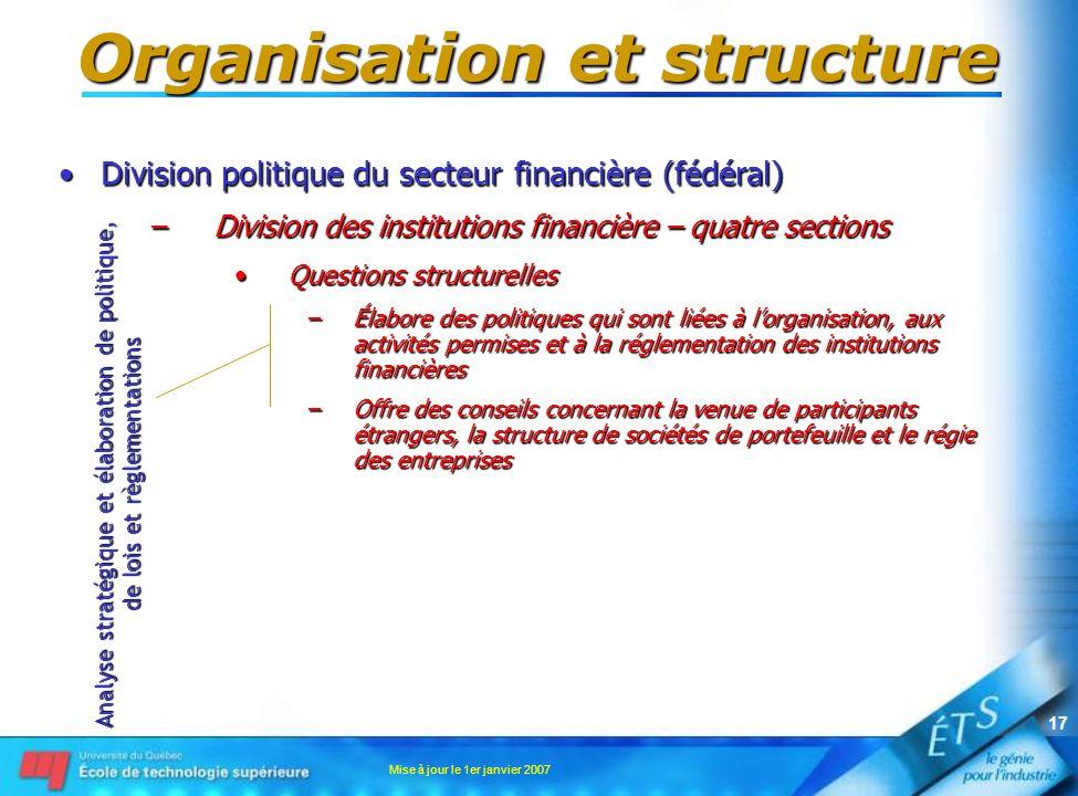 Mise à jour le 1er janvier 2007 17 Organisation et structure Division politique du secteur financière (fédéral)Division politique du secteur financièr