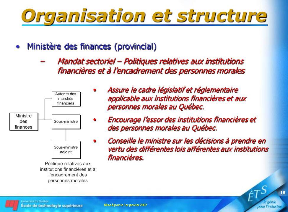 Mise à jour le 1er janvier 2007 18 Organisation et structure Ministère des finances (provincial)Ministère des finances (provincial) –Mandat sectoriel