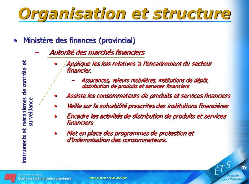 Mise à jour le 1er janvier 2007 19 Organisation et structure Ministère des finances (provincial)Ministère des finances (provincial) –Autorité des marc