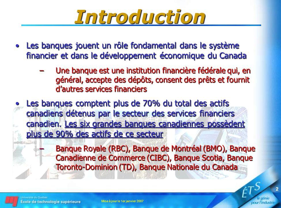 Mise à jour le 1er janvier 2007 2 Introduction Les banques jouent un rôle fondamental dans le système financier et dans le développement économique du