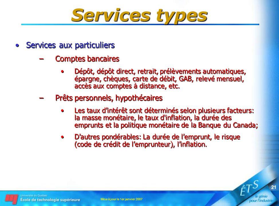Mise à jour le 1er janvier 2007 21 Services types Services aux particuliersServices aux particuliers –Comptes bancaires Dépôt, dépôt direct, retrait,