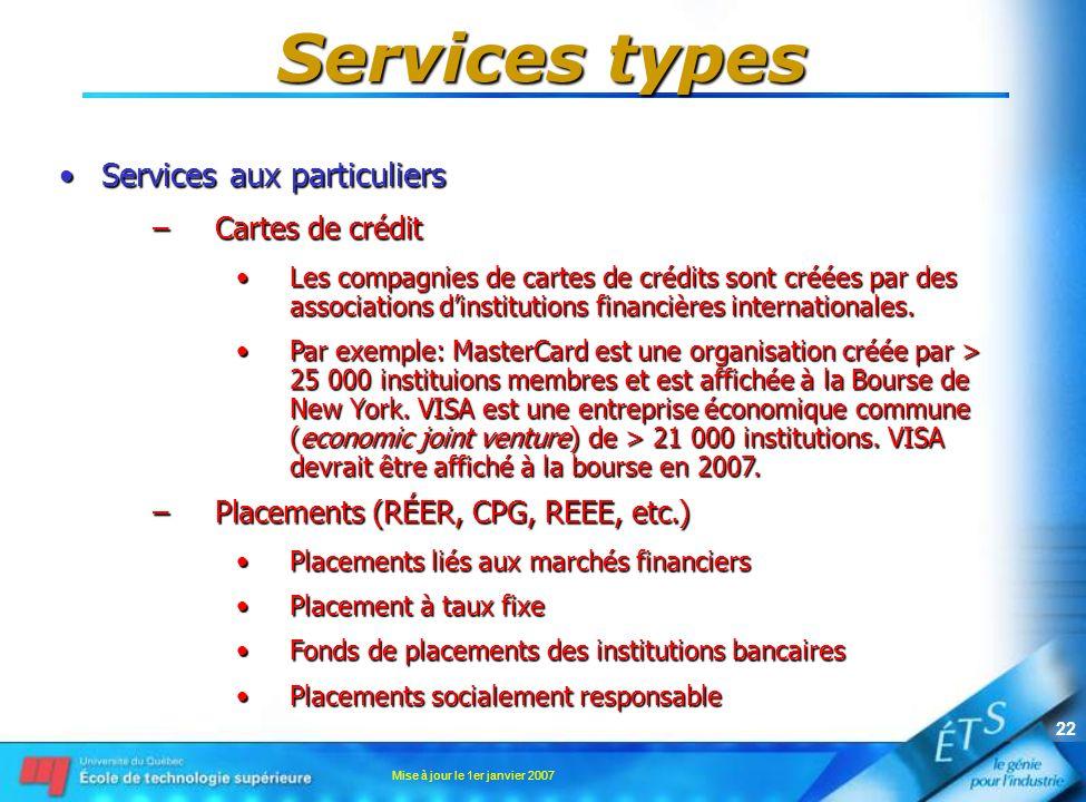 Mise à jour le 1er janvier 2007 22 Services types Services aux particuliersServices aux particuliers –Cartes de crédit Les compagnies de cartes de cré