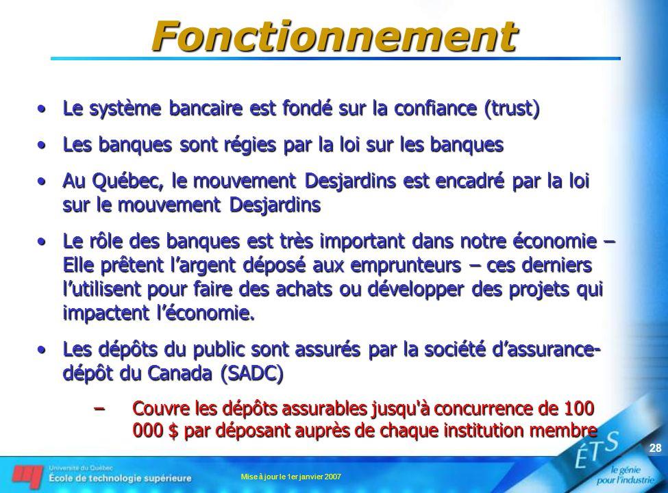 Mise à jour le 1er janvier 2007 28 Fonctionnement Le système bancaire est fondé sur la confiance (trust)Le système bancaire est fondé sur la confiance