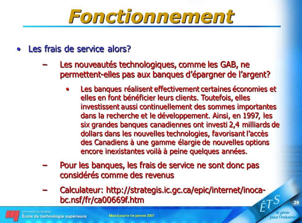 Mise à jour le 1er janvier 2007 39 Fonctionnement Les frais de service alors?Les frais de service alors? –Les nouveautés technologiques, comme les GAB