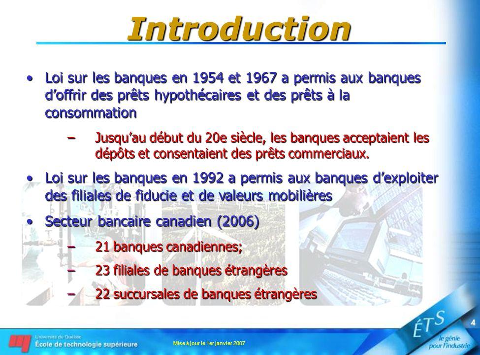 Mise à jour le 1er janvier 2007 4 Introduction Loi sur les banques en 1954 et 1967 a permis aux banques doffrir des prêts hypothécaires et des prêts à