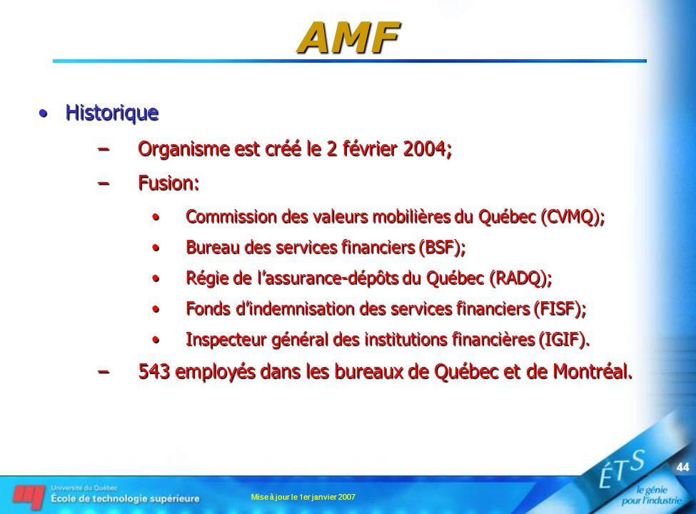 Mise à jour le 1er janvier 2007 44 AMF HistoriqueHistorique –Organisme est créé le 2 février 2004; –Fusion: Commission des valeurs mobilières du Québe