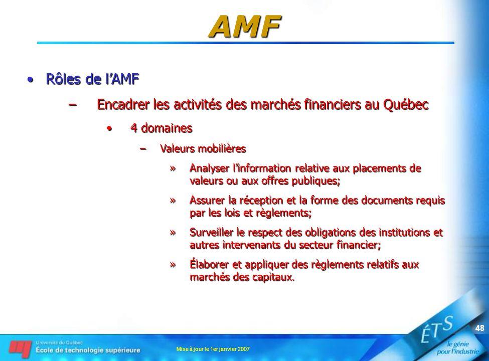 Mise à jour le 1er janvier 2007 48 AMF Rôles de lAMFRôles de lAMF –Encadrer les activités des marchés financiers au Québec 4 domaines4 domaines –Valeu