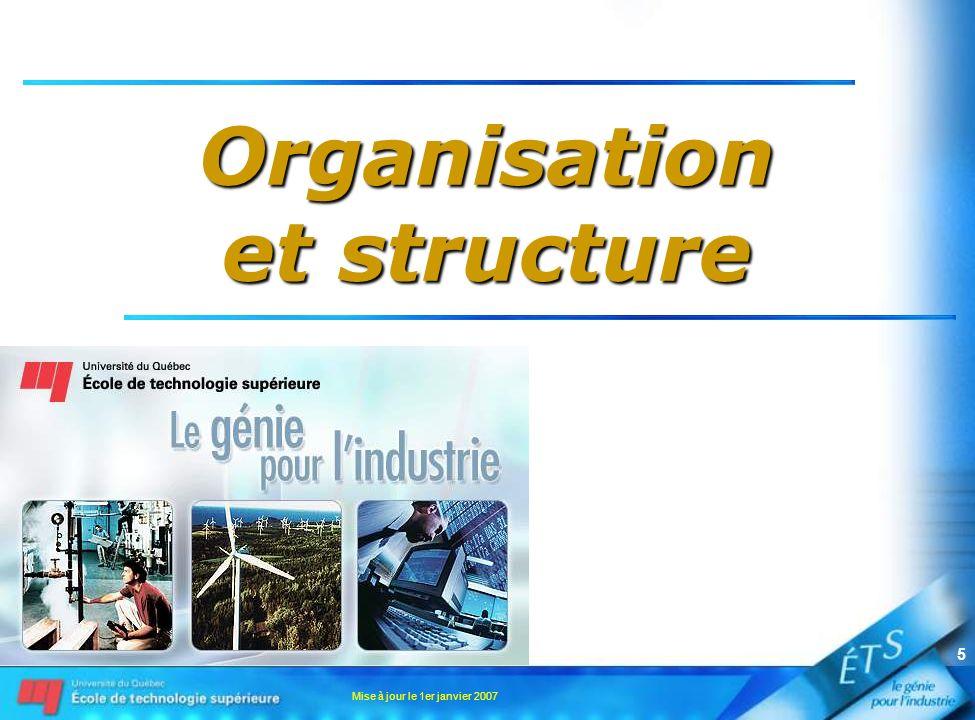 Mise à jour le 1er janvier 2007 5 Organisation et structure