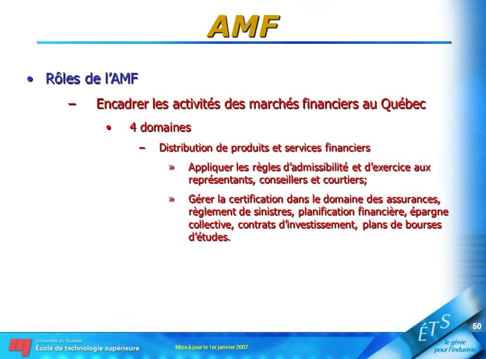 Mise à jour le 1er janvier 2007 50 AMF Rôles de lAMFRôles de lAMF –Encadrer les activités des marchés financiers au Québec 4 domaines4 domaines –Distr