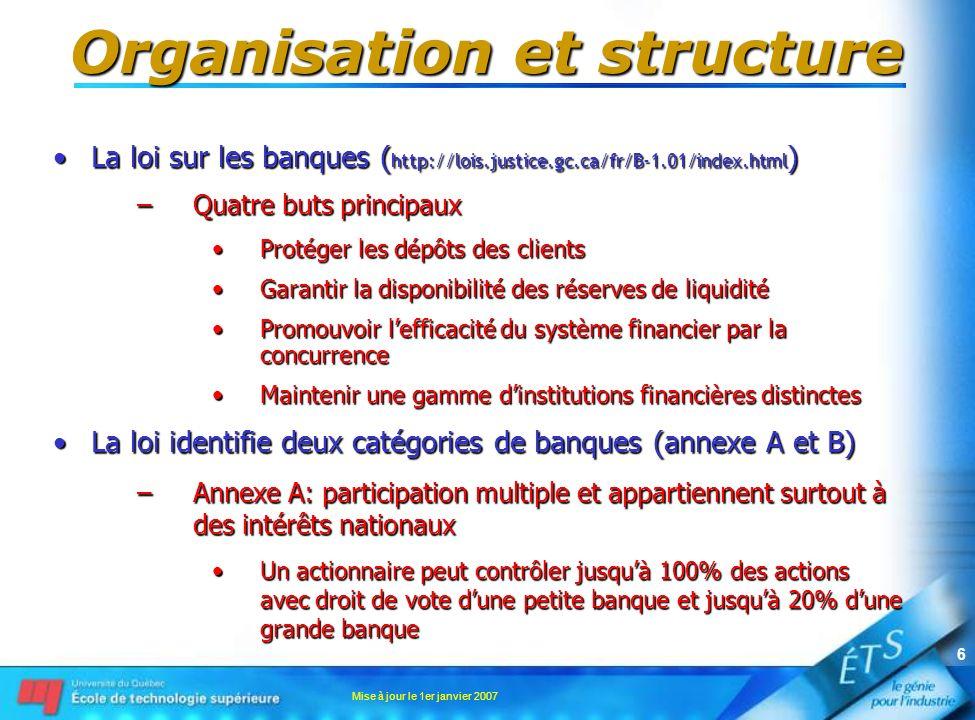 Mise à jour le 1er janvier 2007 6 Organisation et structure La loi sur les banques ( http://lois.justice.gc.ca/fr/B-1.01/index.html )La loi sur les ba