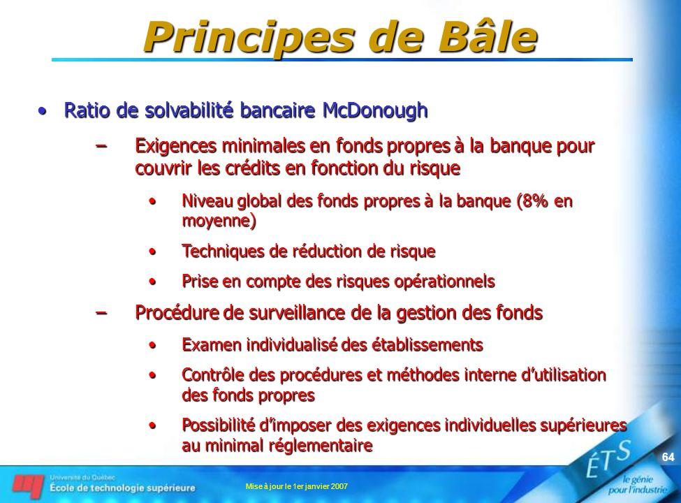 Mise à jour le 1er janvier 2007 64 Principes de Bâle Ratio de solvabilité bancaire McDonoughRatio de solvabilité bancaire McDonough –Exigences minimal