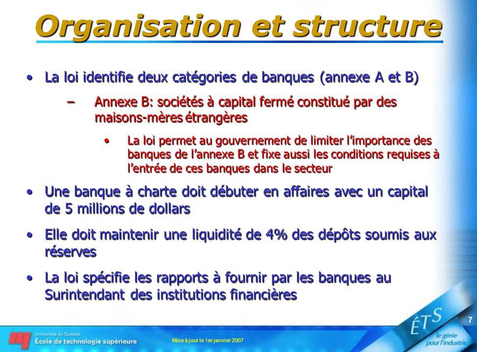 Mise à jour le 1er janvier 2007 7 Organisation et structure La loi identifie deux catégories de banques (annexe A et B)La loi identifie deux catégorie