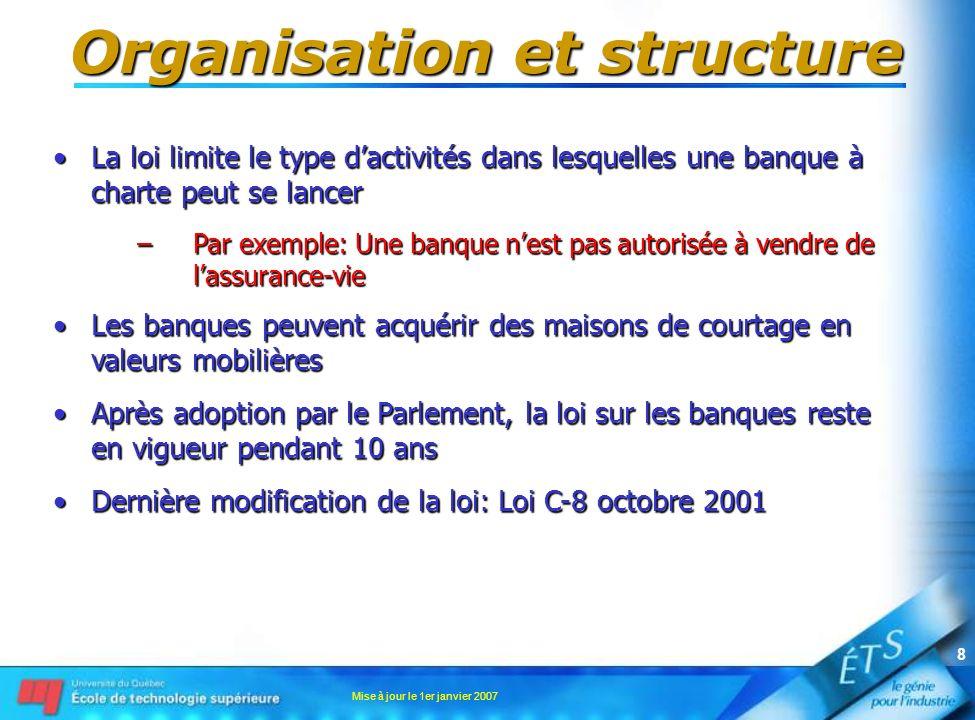 Mise à jour le 1er janvier 2007 8 Organisation et structure La loi limite le type dactivités dans lesquelles une banque à charte peut se lancerLa loi