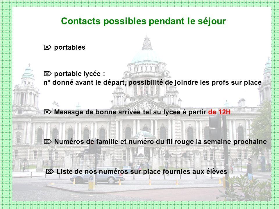 Contacts possibles pendant le séjour portables Message de bonne arrivée tel au lycée à partir de 12H Numéros de famille et numéro du fil rouge la sema
