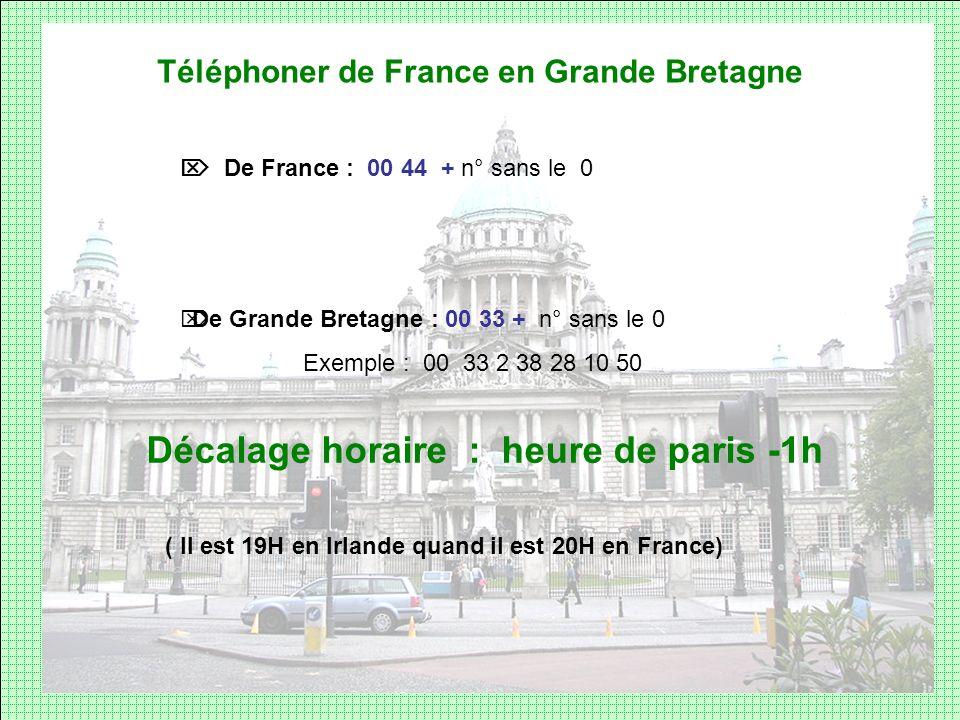 Téléphoner de France en Grande Bretagne De France : 00 44 + n° sans le 0 De Grande Bretagne : 00 33 + n° sans le 0 Exemple : 00 33 2 38 28 10 50 Décal