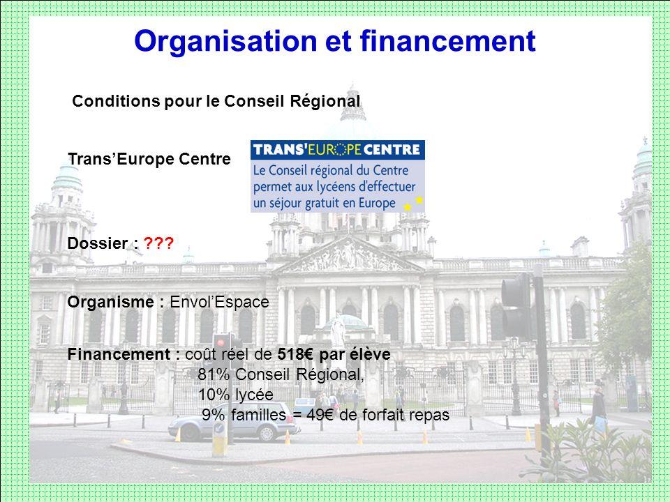 Organisation et financement Conditions pour le Conseil Régional TransEurope Centre Dossier : ??? Organisme : EnvolEspace Financement : coût réel de 51