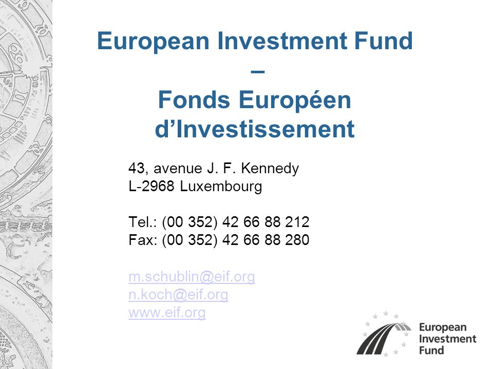 European Investment Fund – Fonds Européen dInvestissement 43, avenue J. F. Kennedy L-2968 Luxembourg Tel.: (00 352) 42 66 88 212 Fax: (00 352) 42 66 8