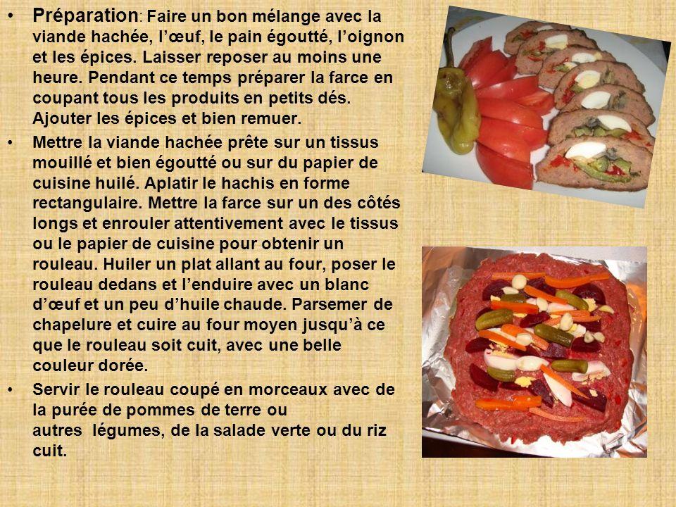 Préparation : Faire un bon mélange avec la viande hachée, lœuf, le pain égoutté, loignon et les épices.