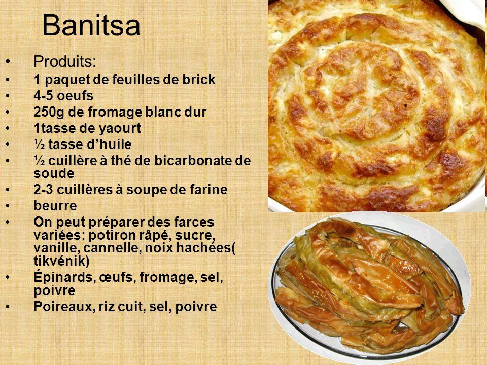 Banitsa Produits: 1 paquet de feuilles de brick 4-5 oeufs 250g de fromage blanc dur 1tasse de yaourt ½ tasse dhuile ½ cuillère à thé de bicarbonate de soude 2-3 cuillères à soupe de farine beurre On peut préparer des farces variées: potiron râpé, sucre, vanille, cannelle, noix hachées( tikvénik) Épinards, œufs, fromage, sel, poivre Poireaux, riz cuit, sel, poivre
