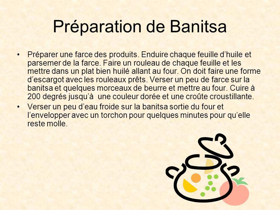 Préparation de Banitsa Préparer une farce des produits.